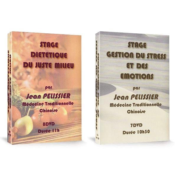 Pack 2 coffrets Stages MTC : Diététique du Juste Milieu et Gestion du Stress et des Emotions, réalisé par Jean Pélissier.